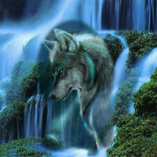 DIY 5D Diamond Mosaic Waterfall&Wolf Painting Stitch Embroidery Home Decor UR8