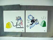 VINTAGE WHEELING CUSHION CERAMIC POTTERY TILE: H/P ARTIST SIGNED 2 MICE  6X6