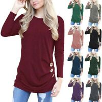 Shirt Pullover Tunic Women's Casual Blouse Loose Long Jumper Tops T-Shirt Sleeve