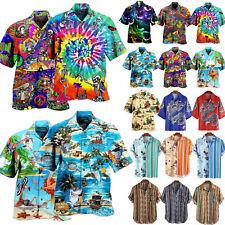 Hawaiihemd Kurzarm Shirt Freizeithemden Hawaiian Urlaub Aloha Blumenbluse Herren