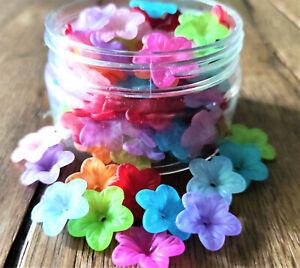 25 / 50 Acryl  Blüten Perlen gefrostet Farbmix 18mm Schmuck Basteln Kit