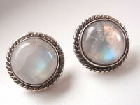 Blue Moonstone 925 Sterling Silver Stud Earrings w/ Rope Style Accents t47a