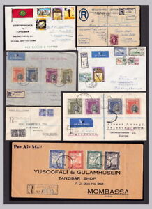 Zanzibar covers FDC commercial 1944-64 priced and sold singly