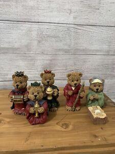 "Bear Christmas Nativity Set Scene Figurines Baby Jesus 4.5"" Tall"