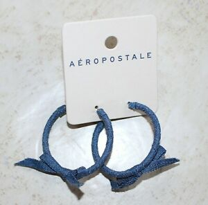 Aeropostale Blue Bow Hoop Circle Earrings New NWT