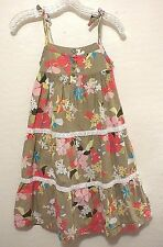 JANIE & JACK Long Floral Textured Cotton Summer Dress 5 5T Smocked Lined Beach