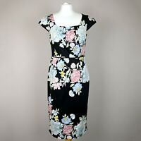 MONSOON Fitted Pencil Midi Dress SIZE UK 12 Cup sleeve Floral Black pink blue