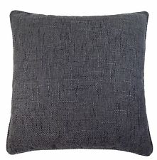 "TEXTURED WOVEN CHARCOAL GREY PIPED 22""-55CM CUSHION COVER"