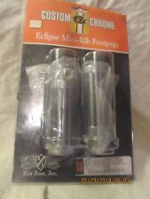 Eclipse Chrome Small Diameter Footpegs with Female Ends and Black Rubber Strips