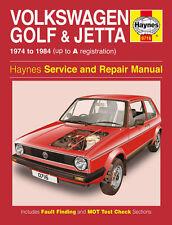 Haynes Workshop Manual 0716 Volkswagen VW Golf & Jetta 1974-1984 Mk1