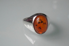 925 Sterling Silver Gent's Men's Curved Oval Amber Signet Ring - Sizes O - Z