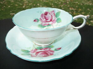 CUP SAUCER PARAGON PINK FLOATING CABBAGE ROSE IN AQUA SEA PEACOCK BLUE TRIM