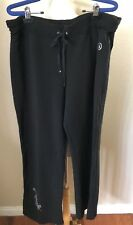 Christine Alexander Drawstring Stretch Knit Pants Size L Black Rhinestone Trim