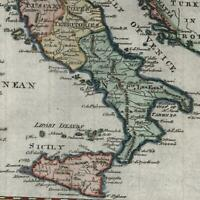 Italy Italia c.1778 T. Jefferys engraved old map w/ decorative cartouche