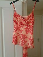 Stunning Monsoon Orange Multi Floral Top, Strappy, Sheer Outer Layer, Size 10