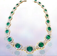EMERALD GREEN OVAL SHAPE SET DIAMOND PEAR MARQUISE ROUND SHAPE DIAMOND NECKLACE