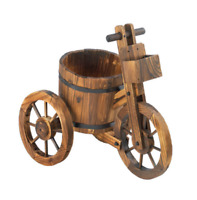 rustic WOOD WHISKEY Wine Barrel bicycle tricycle planter plant stand flower pot