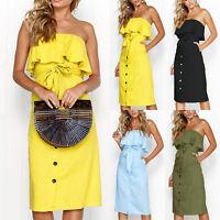 Women Off Shoulder Midi Dress Summer Beach Ruffle Bandeau Front Tie Frill Dress