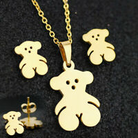 Fashion Stainless Steel Gold Animal Bear Stud Earrings Necklace Jewelry Set Gift