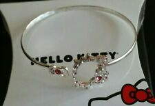 HELLO KITTY BANGLE CUFF BRACELET SILVER PLATED - NEW