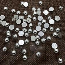 NEW 8mm 100PCS Silver Half Round Bead Flat Back Pearl Scrapbooking Embellishment