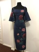 PASDUCHAS Women Navy Floral Cold Shoulder Midi Cocktail Dress Size 8 RRP $200