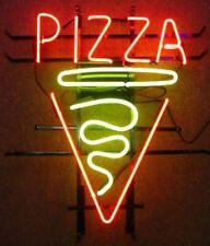 "Pizza Slice Open Neon Lamp Sign 17""x14"" Bar Light Glass Artwork Handmade Decor"