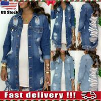 Womens Casual Ripped Denim Jacket Ladies Stretch Jean Distressed Long Coat Tops