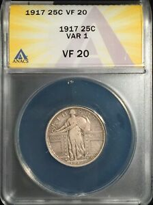 1917 Standing Liberty Quarter == Type One == ANACS VF-20  ==   Free Shipping  !