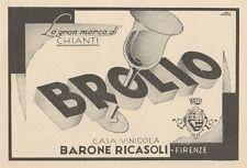 Z1193 BROLIO - Casa vinicola Barone RICASOLI - Pubblicità d'epoca - 1933 Old ad