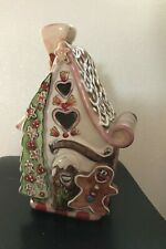 Gingerbread Cottage House Christmas Tea Candle Holder Blue Sky Heather Goldminc