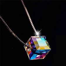 18K White Gold Plated Cube Crystal Pendant Necklace NF104