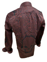 Men STEELO By ENVY Long Sleeve Button Up Dress Shirt RED SILKY SKULL ABSTRACT 06