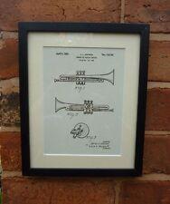 USA Patent Drawing brass TRUMPET Music Instrument MOUNTED PRINT 1939  Gift