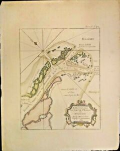 EXTREMELY RARE MAP OF THE MOUTH OF THE MISSISSIPPI RIVER 1764 GENUINE FRAMEABLE
