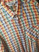 Vintage MISSONI Men's Shirt Medium Orange Label on Pocket Red Buttons Italy M