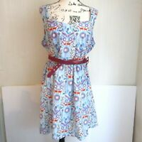 ModCloth Rabbit Fox Forest Print Multicolor Plus Sized Belted Dress Size 1X