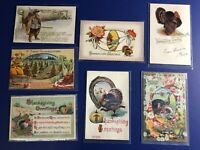 Thanksgiving Antique Vintage 7 Posrcard Lot, Nice & Collector Items. Early 1900