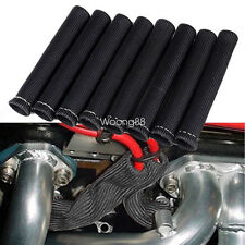 8X BLACK 1200°SPARK PLUG WIRE BOOTS HEAT SHIELD PROTECTOR SLEEVE SBC BBC 350 454