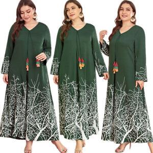 Dubai Abaya Printed Maxi Dress Muslim Women Long Kaftan Jilbab Loose Casual Arab