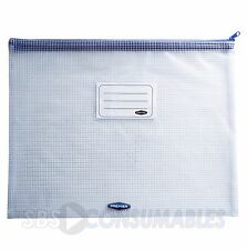 Premier A4+ Carry Case Mesh Zip Secure Water Resistant Document Wallet ID Holder