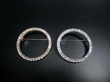 Brosche Anstecknadel Ring Kreis rund Strass Steine gold silber schlicht edel