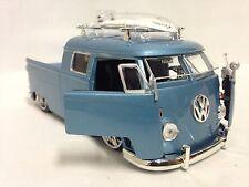 "1963 Volkswagen Micro Bus Pickup w/Surfboard, 8.25"" Diecast 1:24, Jada Toys Blue"