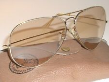 62MM VINTAGE B&L RAY BAN PHOTO BROWN ARISTA CHANGEABLE LENS AVIATOR SUNGLASSES