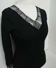 J Taylor Debenhams Black Beaded Macrame Trim Evening Top Size 10 BNWT