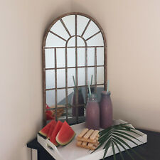 Panelled Arched Free Standing Rustic Mirror Distressed Metal Finish 60 x 36cm