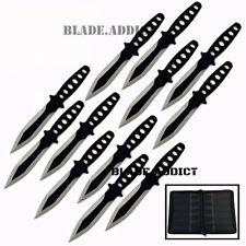 "12 Pc 6"" Ninja Hunting Tactical Combat Naruto Kunai Throwing Knife Set + Case"