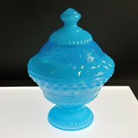 BLUE VARIANT Color COVERED CANDY DISH Boyd's Crystal Art Glass Aqua NOS