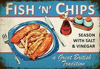 Fish and Chips Blechschild Schild gewölbt Metal Tin Sign 20 x 30 cm FA1145