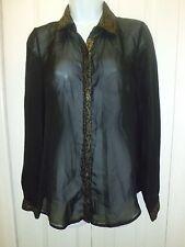 Women's Casual Dress Long Sleeve Career Blouse Sz S Black Transparent Blouse